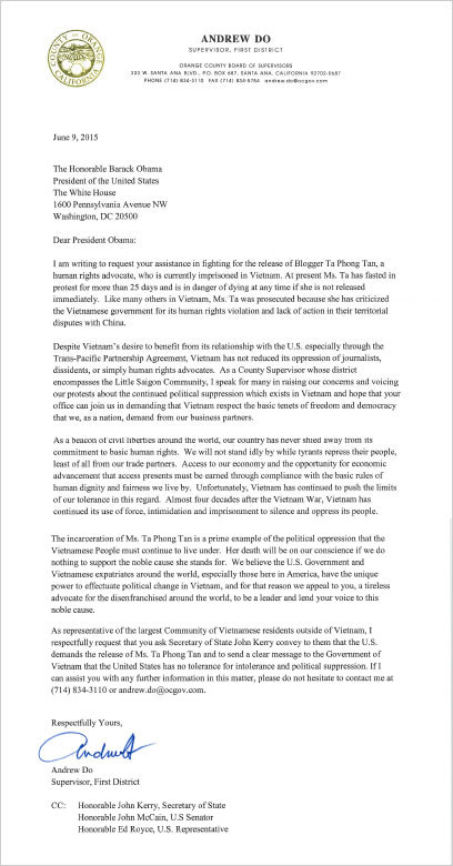 Andrew Do's Letter to Obama